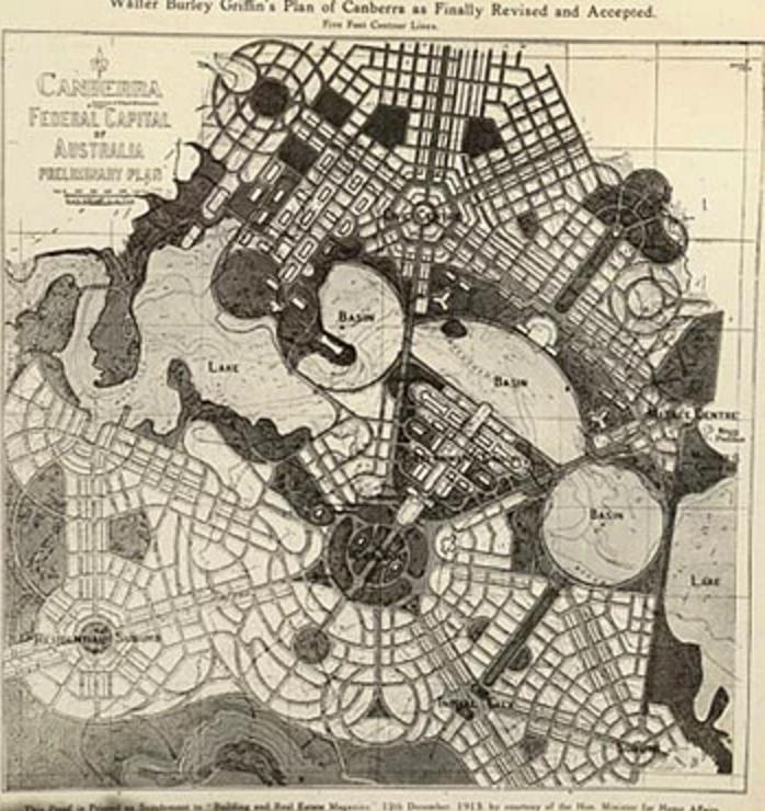Amerikalı mimar Walter Burley Griffin'in ilk Canberaa planı.