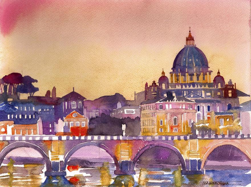 watercolors-from-around-the-world-by-Polish-architect-Maja-Wroska-57173b4e12782__880